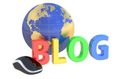 Internet Blog concept,  3D rendering. On white background Stock Photography
