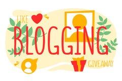 Internet blogging Publicidad online y contenido digital stock de ilustración