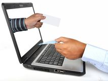 Internet  booking. A man booking a ticket on internet Stock Photos