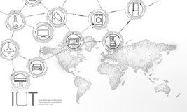 Internet branco da terra do planeta do espaço do conceito da tecnologia da inovação do ícone das coisas TIC sem fio da rede de co ilustração stock