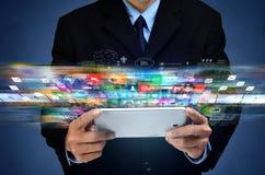 Internet-breedband en gegevens stromen van verschillende media het van verschillende media royalty-vrije stock foto's
