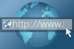 Internet Browser. Illustration of internet browser bar with globe as background symbolizing the world wide web Stock Images