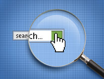 Online Search Magnifying Glass Stock Images