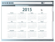 Internet browser with 2015 calendar Stock Image