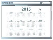 Internet-browser met de kalender van 2015 Stock Afbeelding