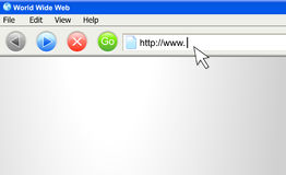 Internet Browser Screen with URL. A vector computer screen image of an internet URL address being typed Stock Images