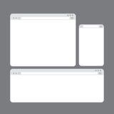 Internet-Browser Window Schablonen eingestellt Lizenzfreie Stockfotos