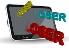 Internet bullying. A computer tablet and words spelling loser coming out of it Royalty Free Stock Image