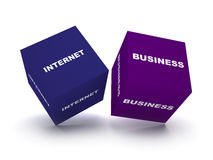 Internet business blocks. Two blue blocks spelling internet business words. concept for internet business Stock Images