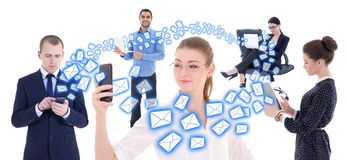 Internet business concept - business people with mobile phones a Royalty Free Stock Photos