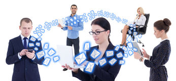 Internet business concept - young business people with mobile ph Royalty Free Stock Images