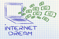 The internet business dream: money exploding out of computer scr Stock Images