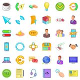 Internet business icons set, cartoon style. Internet business icons set. Cartoon style of 36 internet business vector icons for web isolated on white background Stock Photos
