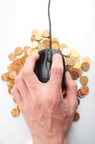 Internet  business. Mouse and coin Stock Image