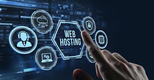 Free Internet, Business, Technology And Network Concept. Web Hosting. The Activity Of Providing Storage Space And Access For Websites Stock Photo - 217172400