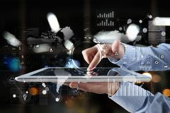 Internet, Business concept. Icons, diagrams and graphs on virtual screen. Stock Photo