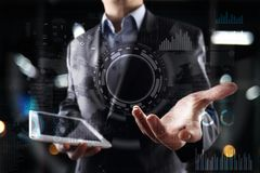 Internet, Business and technology concept. Icons, diagrams and graphs background on virtual screen.  Stock Photography