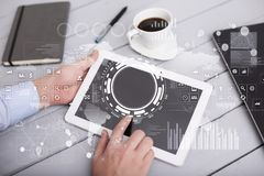 Internet, Business and technology concept. Icons, diagrams and graphs background on virtual screen. Internet, Business and technology concept. Icons, diagrams Stock Photo