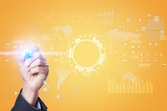 Internet, Business and technology concept. Icons, diagrams and graphs background on virtual screen. Internet, Business and technology concept. Icons, diagrams Stock Photos