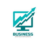 Internet business - vector logo concept illustration. Computer monitor icon. Finance growth graphic sign. Arrow symbol. Design element Royalty Free Stock Images