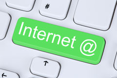 Internet button on computer keyboard Stock Photo