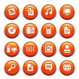 Internet buttons. 16 internet theme icons on black shiny buttons vector illustration