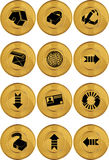 Internet Buttons - Gold Coin. Set of 12 internet buttons - gold coin style Stock Photography
