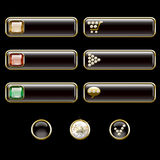 Internet buttons, gold and with precious stones Stock Photography