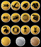 Internet Buttons - Round. Set of 12 internet buttons - gold round style Royalty Free Stock Image