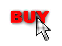 Internet buy. 3d illustraton of mouse cursor and buy button Stock Images