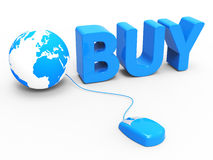 Internet Buy Represents World Wide Web And Retail Royalty Free Stock Photos
