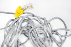 Internet cable conceptual image. Embroiled internet cable Stock Photography