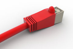 Internet cable with dollars Royalty Free Stock Images