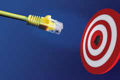 Internet cable in front of centre of target Royalty Free Stock Photos