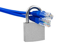 Internet cable and lock Royalty Free Stock Images