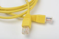 Internet Cable Network. Yellow color Stock Photo