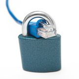 Internet cable and padlock Royalty Free Stock Photo