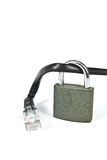 Internet cable with a padlock Royalty Free Stock Photo