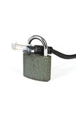 Internet cable with a padlock. Internet cable locked with a padlock - concept of safe web browsing Royalty Free Stock Photography