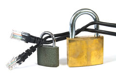 Internet cable with a padlock. Internet cable locked with a padlock - concept of safe web browsing Stock Photo