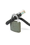Internet cable with a padlock. Internet cable locked with a padlock - concept of safe web browsing Stock Photography