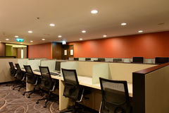 Internet cafe. Picture of moderm interior internet cafe Royalty Free Stock Image