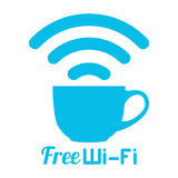 Internet cafe free wifi coffee cup sign Stock Photo