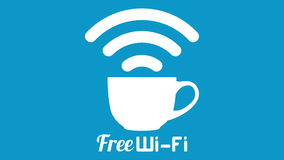 Internet cafe free wifi coffee cup sign.