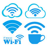Internet cafe free wifi vector icons set. Royalty Free Stock Images