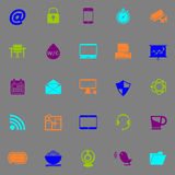 Internet cafe icons fluorescent color on gray background Royalty Free Stock Photos