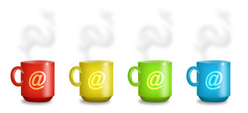 Internet Cafe Mugs Stock Photography