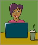 Internet Cafe Woman Stock Photography