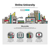 Internet campus flat line web graphics Royalty Free Stock Image