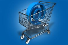 Internet Cart. Shopping Cart with At (E-mail Symbol) Inside. Blue Background. Internet Shopping Theme. 3D Render Illustration Royalty Free Stock Photos